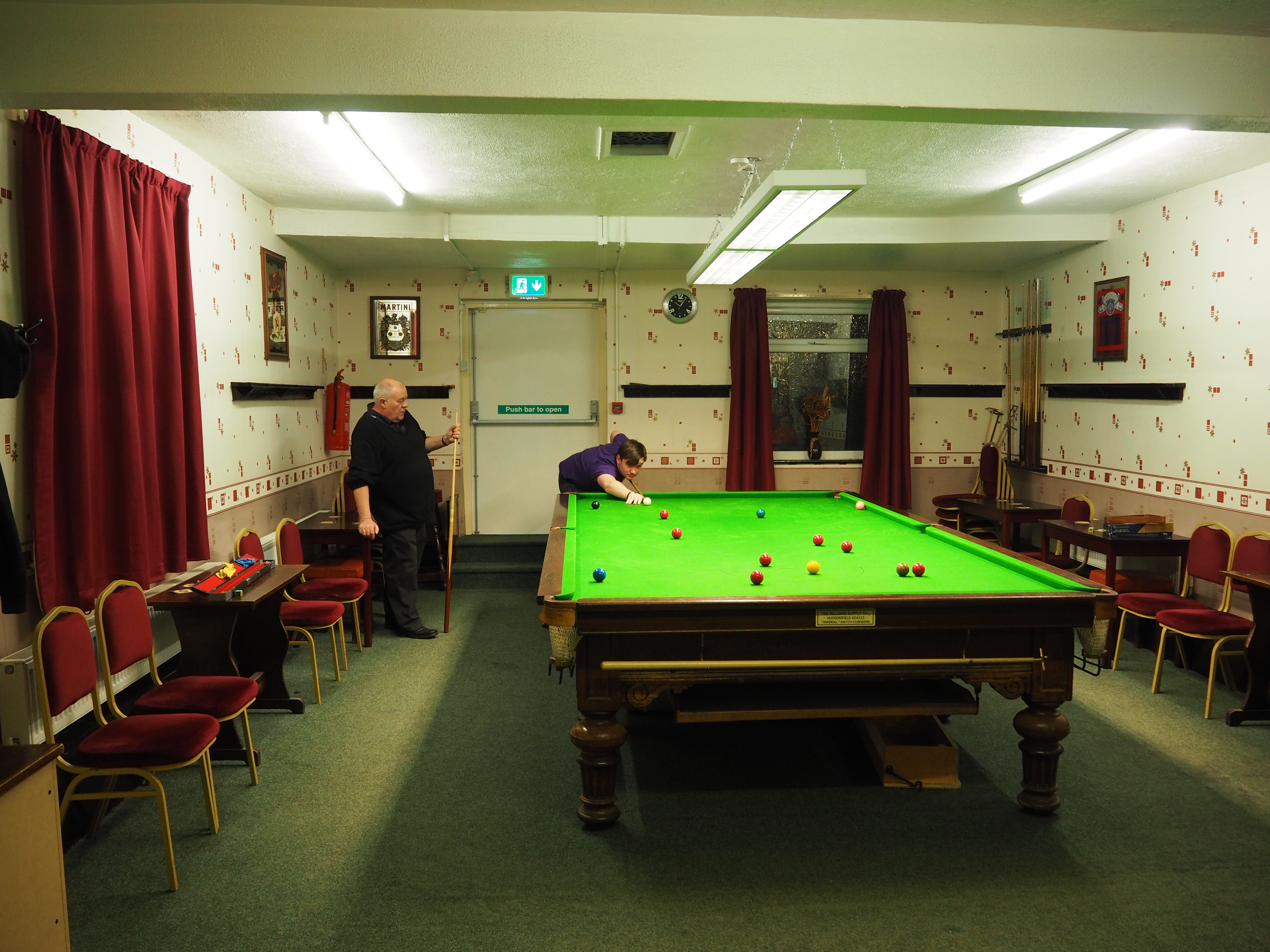 Graham and Simon try the refurbished snooker table